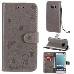 Embossing Bee and Cat Leather Wallet Case for Samsung Galaxy S7 G930 - Gray