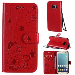 Embossing Bee and Cat Leather Wallet Case for Samsung Galaxy S7 G930 - Red