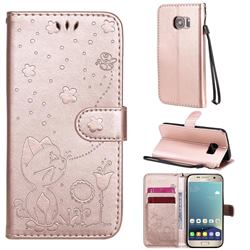 Embossing Bee and Cat Leather Wallet Case for Samsung Galaxy S7 G930 - Rose Gold