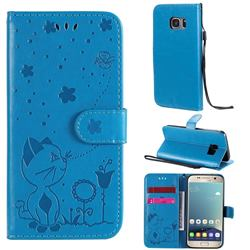 Embossing Bee and Cat Leather Wallet Case for Samsung Galaxy S7 G930 - Blue