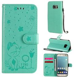 Embossing Bee and Cat Leather Wallet Case for Samsung Galaxy S7 G930 - Green
