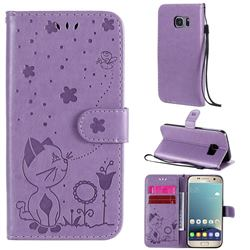 Embossing Bee and Cat Leather Wallet Case for Samsung Galaxy S7 G930 - Purple