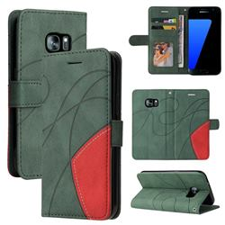 Luxury Two-color Stitching Leather Wallet Case Cover for Samsung Galaxy S7 G930 - Green