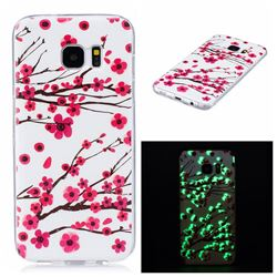 Plum Flower Noctilucent Soft TPU Back Cover for Samsung Galaxy S7 Edge