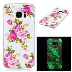Peony Noctilucent Soft TPU Back Cover for Samsung Galaxy S7 Edge