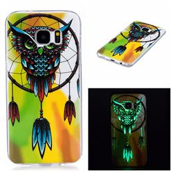 Owl Wind Chimes Noctilucent Soft TPU Back Cover for Samsung Galaxy S7 Edge