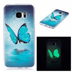 Butterfly Noctilucent Soft TPU Back Cover for Samsung Galaxy S7 Edge