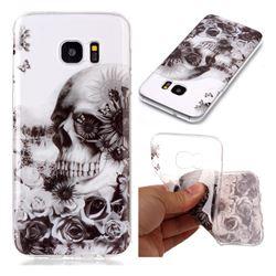 Black Flower Skull Super Clear Soft TPU Back Cover for Samsung Galaxy S7 Edge s7edge