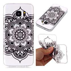 Black Mandala Flower Super Clear Soft TPU Back Cover for Samsung Galaxy S7 Edge s7edge