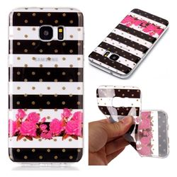 Striped Flowers Super Clear Soft TPU Back Cover for Samsung Galaxy S7 Edge s7edge