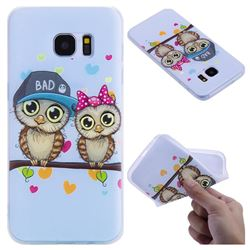 Couple Owls 3D Relief Matte Soft TPU Back Cover for Samsung Galaxy S7 Edge s7edge