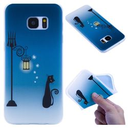 Street Light Cat 3D Relief Matte Soft TPU Back Cover for Samsung Galaxy S7 Edge s7edge