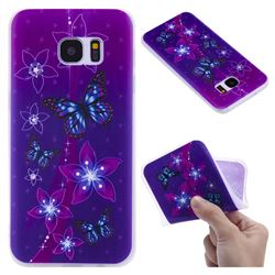 Butterfly Flowers 3D Relief Matte Soft TPU Back Cover for Samsung Galaxy S7 Edge s7edge