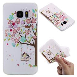 Tree and Girl 3D Relief Matte Soft TPU Back Cover for Samsung Galaxy S7 Edge s7edge