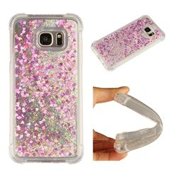 Dynamic Liquid Glitter Sand Quicksand Star TPU Case for Samsung Galaxy S7 Edge s7edge - Rose