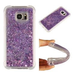 Dynamic Liquid Glitter Sand Quicksand Star TPU Case for Samsung Galaxy S7 Edge s7edge - Purple