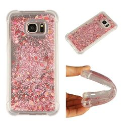 Dynamic Liquid Glitter Sand Quicksand Star TPU Case for Samsung Galaxy S7 Edge s7edge - Diamond Rose