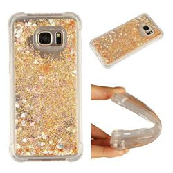 Dynamic Liquid Glitter Sand Quicksand Star TPU Case for Samsung Galaxy S7 Edge s7edge - Diamond Gold