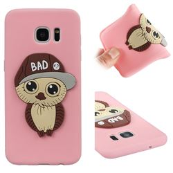 Bad Boy Owl Soft 3D Silicone Case for Samsung Galaxy S7 Edge s7edge - Pink