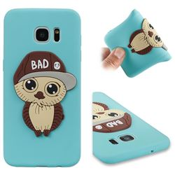 Bad Boy Owl Soft 3D Silicone Case for Samsung Galaxy S7 Edge s7edge - Sky Blue