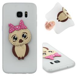 Bowknot Girl Owl Soft 3D Silicone Case for Samsung Galaxy S7 Edge s7edge - Translucent White