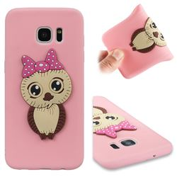 Bowknot Girl Owl Soft 3D Silicone Case for Samsung Galaxy S7 Edge s7edge - Pink