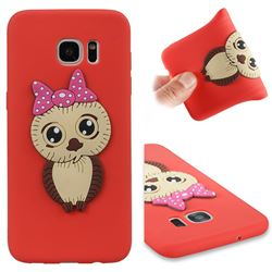 Bowknot Girl Owl Soft 3D Silicone Case for Samsung Galaxy S7 Edge s7edge - Red