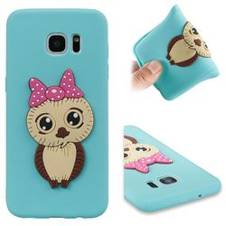 Bowknot Girl Owl Soft 3D Silicone Case for Samsung Galaxy S7 Edge s7edge - Sky Blue
