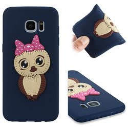Bowknot Girl Owl Soft 3D Silicone Case for Samsung Galaxy S7 Edge s7edge - Navy