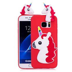 Unicorn Soft 3D Silicone Case for Samsung Galaxy S7 Edge s7edge - Red