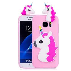 Unicorn Soft 3D Silicone Case for Samsung Galaxy S7 Edge s7edge - Rose