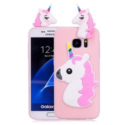 Unicorn Soft 3D Silicone Case for Samsung Galaxy S7 Edge s7edge - Pink