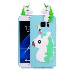 Unicorn Soft 3D Silicone Case for Samsung Galaxy S7 Edge s7edge - Baby Blue