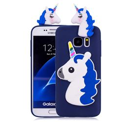 Unicorn Soft 3D Silicone Case for Samsung Galaxy S7 Edge s7edge - Dark Blue