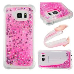 Dynamic Liquid Glitter Sand Quicksand TPU Case for Samsung Galaxy S7 Edge s7edge - Pink Love Heart