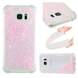 Dynamic Liquid Glitter Sand Quicksand TPU Case for Samsung Galaxy S7 Edge s7edge - Silver Powder Star