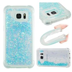 Dynamic Liquid Glitter Sand Quicksand TPU Case for Samsung Galaxy S7 Edge s7edge - Silver Blue Star