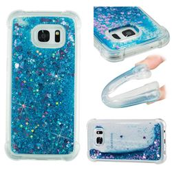 Dynamic Liquid Glitter Sand Quicksand TPU Case for Samsung Galaxy S7 Edge s7edge - Blue Love Heart