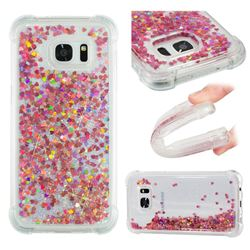Dynamic Liquid Glitter Sand Quicksand TPU Case for Samsung Galaxy S7 Edge s7edge - Rose Gold Love Heart