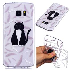 Feather Black Cat Super Clear Soft TPU Back Cover for Samsung Galaxy S7 Edge s7edge