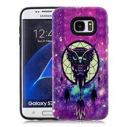 Starry Campanula Owl Pattern 2 in 1 PC + TPU Glossy Embossed Back Cover for Samsung Galaxy S7 Edge s7edge