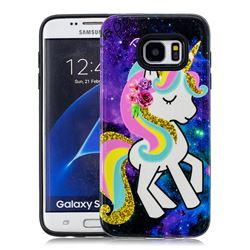Rainbow Horse Pattern 2 in 1 PC + TPU Glossy Embossed Back Cover for Samsung Galaxy S7 Edge s7edge
