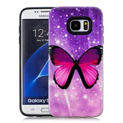 Glossy Butterfly Pattern 2 in 1 PC + TPU Glossy Embossed Back Cover for Samsung Galaxy S7 Edge s7edge