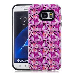 Lotus Flower Pattern 2 in 1 PC + TPU Glossy Embossed Back Cover for Samsung Galaxy S7 Edge s7edge