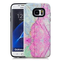 Pink Marble Pattern 2 in 1 PC + TPU Glossy Embossed Back Cover for Samsung Galaxy S7 Edge s7edge