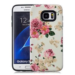 Rose Flower Pattern 2 in 1 PC + TPU Glossy Embossed Back Cover for Samsung Galaxy S7 Edge s7edge