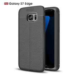Luxury Auto Focus Litchi Texture Silicone TPU Back Cover for Samsung Galaxy S7 Edge s7edge - Black