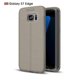 Luxury Auto Focus Litchi Texture Silicone TPU Back Cover for Samsung Galaxy S7 Edge s7edge - Gray