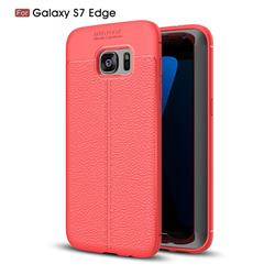 Luxury Auto Focus Litchi Texture Silicone TPU Back Cover for Samsung Galaxy S7 Edge s7edge - Red