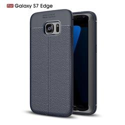 Luxury Auto Focus Litchi Texture Silicone TPU Back Cover for Samsung Galaxy S7 Edge s7edge - Dark Blue
